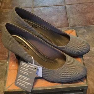NWT black and white plaid heels